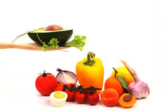 Salad on a spoon Royalty Free Stock Photography