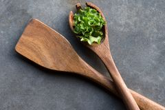 Salad sport and Paddle. Wooden spork and paddle for salad stock photo
