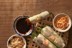 Salad spring roll of Asian wind prawns.  royalty free stock photo