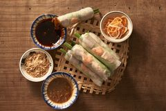 Salad spring roll of Asian wind prawns.  stock image