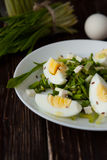Salad of spring wild leek and eggs Stock Photos