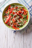 Salad with sprouts, peppers and sesame. Vertical top view Stock Photo