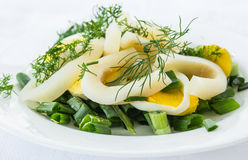 Salad with squid and eggs Royalty Free Stock Image