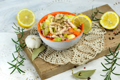 Salad with squid - homemade salad of squid Royalty Free Stock Photo