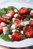 Salad with strawberries, spinach, goat cheese and sesame Royalty Free Stock Images