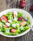 Salad with Strawberry, Green Lettuce and Cheese Royalty Free Stock Photo