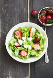 Salad with Strawberry, Green Lettuce and Cheese Royalty Free Stock Photography