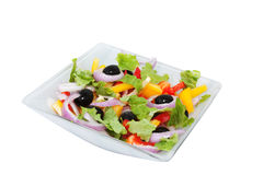Salad of sweet peppers, lettuce and onions Stock Images