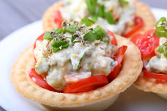 Salad into tartlet Royalty Free Stock Photo