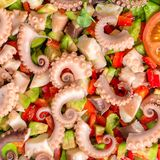 Salad with tentacles of octopus, lime, avocado, red peppers and royalty free stock photos