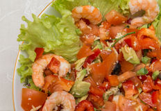 Salad of tiger shrimps and vegetables. Tasty meal with fresh and healthy prawn salad and vegetables Royalty Free Stock Image