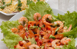 Salad of tiger shrimps and vegetables. Tasty meal with fresh and healthy prawn salad and vegetables Stock Photos