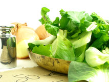Salad to weight. Green salads on a scale tray royalty free stock photo