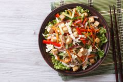 Salad with tofu and vegetables closeup horizontal top view Royalty Free Stock Images