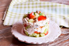 Salad with tomate, cheese, cucumbers. Close up, horizontal Royalty Free Stock Images