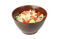 Salad with tomato, cabbage and cucumber on bowl Stock Photo