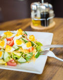Salad with tomato and cucumber and egg Stock Images