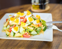 Salad with tomato and cucumber and egg Stock Photos