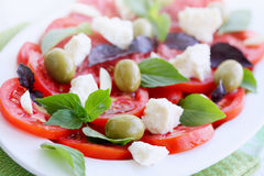 Salad with tomato goat cheese Stock Photography