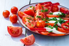 Salad with tomato and mozzarella on plate Stock Photo