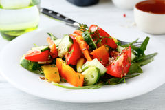 Salad with tomato pepper and cucumber Royalty Free Stock Photo