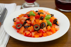Salad tomato, pepper, olives Royalty Free Stock Photo