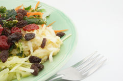 Salad with tomato raisins and fork. Healthy Salad consists apple carrots mango raisins and tomatoes Royalty Free Stock Image