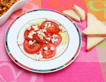 Salad of tomatoes with cheese Royalty Free Stock Photography