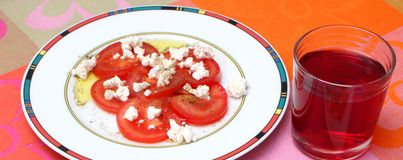 Salad of tomatoes with cheese Royalty Free Stock Photos