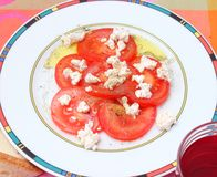 Salad of tomatoes with cheese Stock Photography