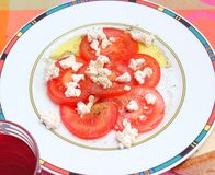 Salad of tomatoes with cheese Royalty Free Stock Photo