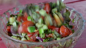 Salad tomatoes cucumber onion lettuce leaves mix glass dish stock footage