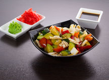 Salad of tomatoes, cucumbers, asparagus, red pepper Royalty Free Stock Photo