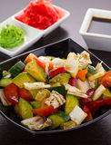 Salad of tomatoes, cucumbers, asparagus, red pepper Royalty Free Stock Image