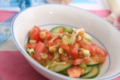 Salad of tomatoes and cucumbers Royalty Free Stock Photo