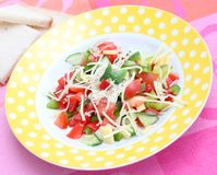 Salad of tomatoes and cucumbers Royalty Free Stock Images