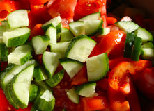 Salad of tomatoes and cucumbers in a plate Stock Images