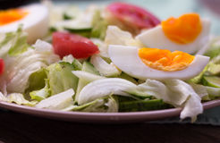 Salad with tomatoes, egg, cucumbers Stock Photos