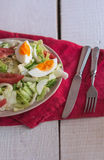 Salad with tomatoes, egg, cucumbers. Summer salad with tomatoes, egg, cucumbers Royalty Free Stock Photo