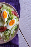 Salad with tomatoes, egg, cucumbers. Summer salad with tomatoes, egg, cucumbers Stock Photos