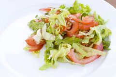 Salad from tomatoes and lettuce Royalty Free Stock Photos