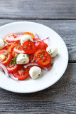 Salad with tomatoes and mozzarella balls Royalty Free Stock Photos