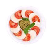 Salad with Tomatoes and Mozzarella Cheese. Stock Photography
