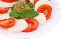 Salad with Tomatoes and Mozzarella Cheese. Royalty Free Stock Photo