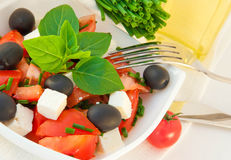 Salad from tomatoes, olives Stock Images
