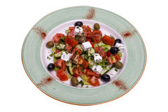 Salad from tomatoes of olives and cheese Royalty Free Stock Photos