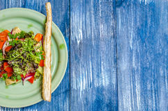 Salad of tomatoes, onions, bell pepper, cheese and herbs, bread stick on a green plate, stand Royalty Free Stock Photos