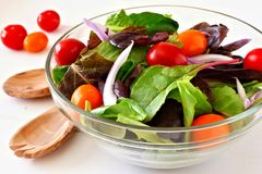 Salad with tomatoes and onions in clear bowl close up Royalty Free Stock Images