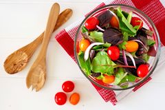 Salad with tomatoes and onions in clear bowl overhead scene Royalty Free Stock Images