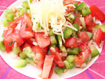 Salad of tomatoes and paprika. A fresh salad of tomatoes and paprika Stock Images